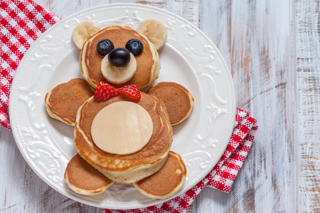 Bear pancakes for kids breakfast