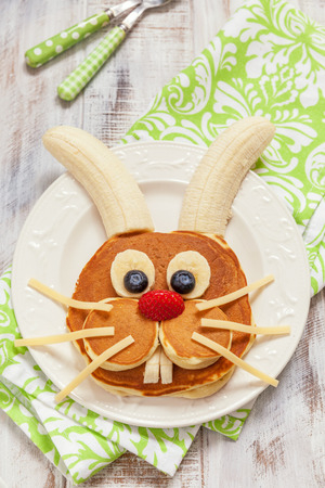 Easter funny bunny pancakes with fruits
