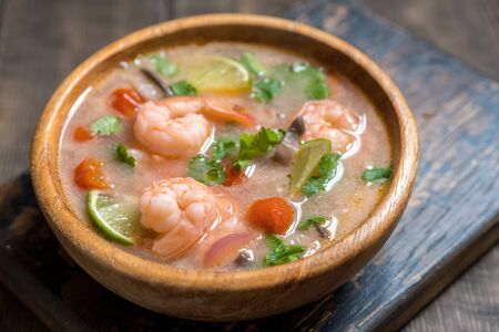fish sauce: Tom yam kong or Tom yum, Tom yam is a spicy clear soup typical in Thailand