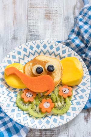 Funny elephant pancakes for kids breakfast Stock Photo