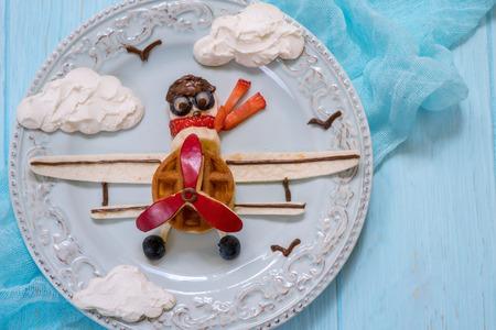 sky brunch: Funny Airplane breakfast for kids Stock Photo