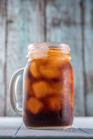 Cold brew coffee in mason jar Stock Photo