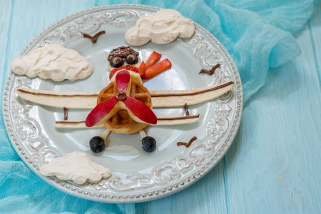 Funny Airplane breakfast for kids Stock Photo