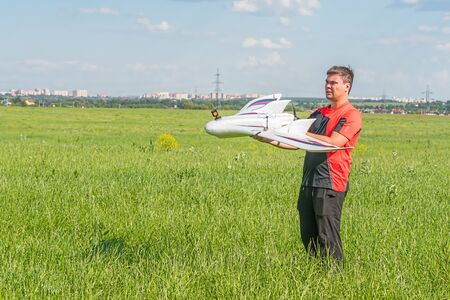 Man with rc model wing Stock Photo