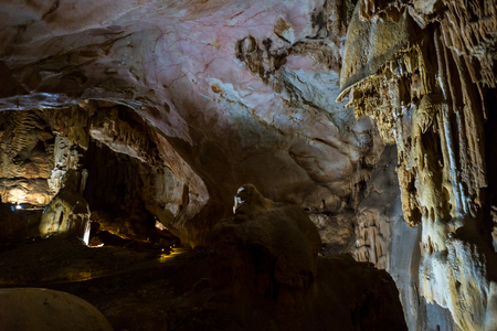 geological formation: Cave stalactites, stalagmites, and other formations at Emine-Bair-Khosar, Crimea Stock Photo