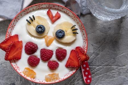 Kids funny breakfast yogurt with fruits and berries look like cute owl