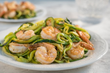 Skinny Shrimp Scampi with Zucchini Noodles. Low carb meal