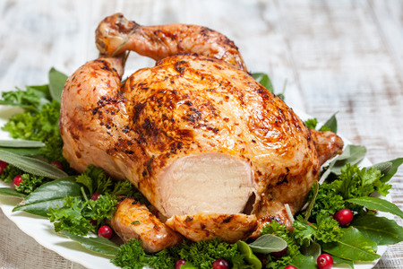 Whole Roasted Chicken for holidays Banco de Imagens