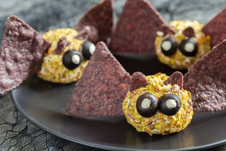 Bat cheese ball for Halloween party