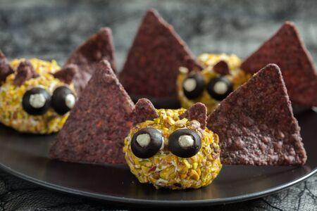 eye ball: Bat cheese ball for Halloween party