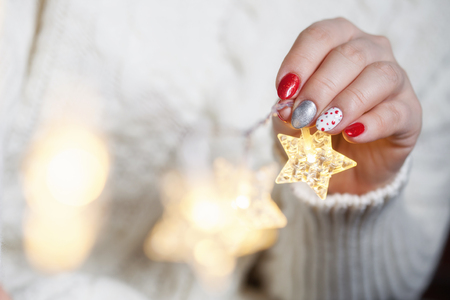 Christmas Nail art manicure Stock Photo
