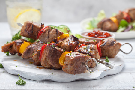 Grilled pork kebab with pepper