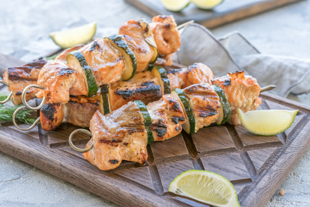 salmon kebab with zucchini
