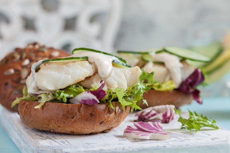 White fish fillet sandwich with tartar sauce