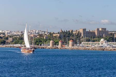 rhodes island, greece sea harbor in summer greece