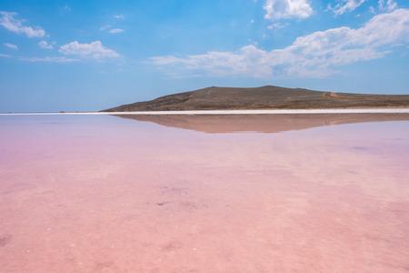 Pink salt Lake Koyashskoe, Crimea.