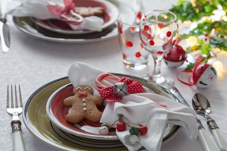 Christmas table place setting.
