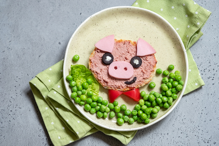 Funny sandwich for kids shaped pig