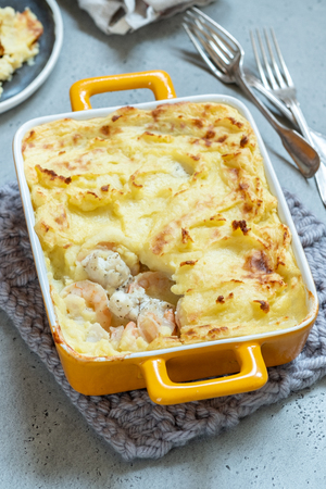 Fish pie topped with mashed potato