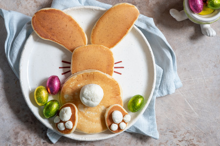 Easter funny bunny pancakes Stock Photo