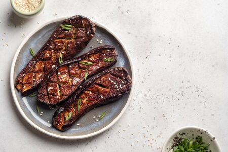 Grilled eggplant with Miso Glaze or nasu dengaku. Japanese food