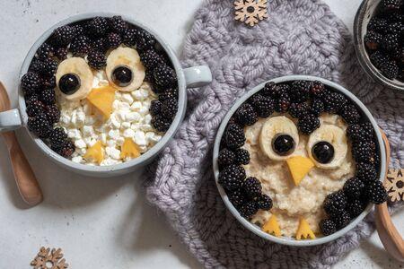 Funny kids breakfast porridge with fresh berries Zdjęcie Seryjne