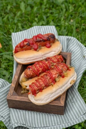Grilled hot dogs with ketchup and relish on a wooden tray Zdjęcie Seryjne