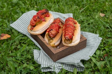 Grilled hot dogs with ketchup and relish on a wooden tray