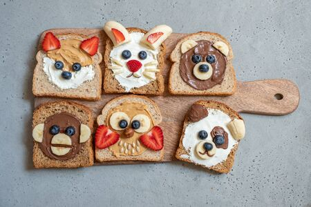 Funny animal faces toasts with spreads, butters, banana, strawberry and blueberry