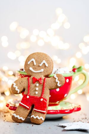 Happy gingerbread cookie man Foto de archivo