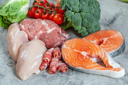Plan de comidas de dieta cetogénica cetogénica baja en carbohidratos de alimentos saludables Foto de archivo