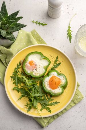 Fried Eggs Shamrock in Green Pepper rings for St. Patrick's Day healthy breakfast
