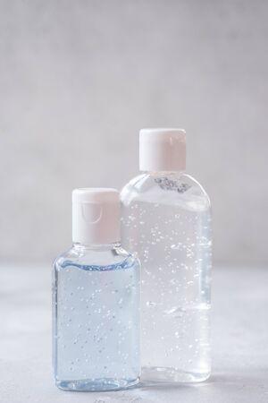 Empty bottle of hand sanitiser gel 스톡 콘텐츠