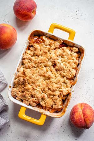 Peach cobbler dessert