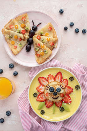 Funny Flower Pancake with berries for kids