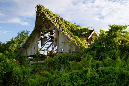 Very old destroyed house is located in jungle at peninsula Santubong coast. Borneo.