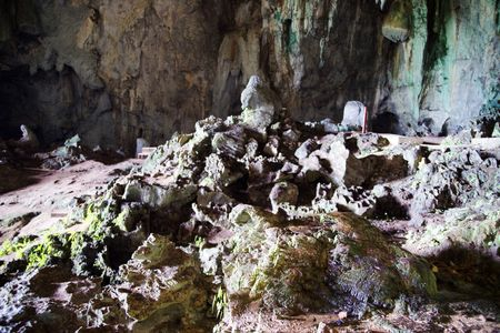 Ancient caves in which lived ancient people. Malaysia. Borneo.