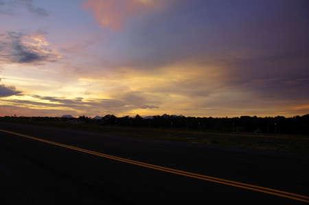 Sunset on the city of Kuching. Paradise island Borneo. Stock Photo