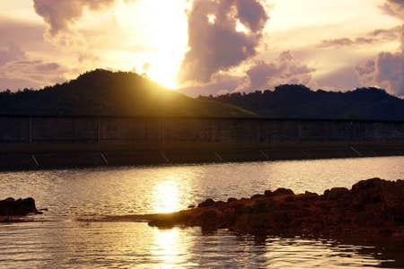 Sunset in a deaf jungle of high-mountainous island Borneo Stock Photo
