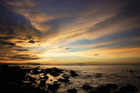 seacoast: Sea sunset at seacoast of peninsula Santubong. Borneo.