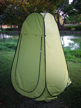 Bathroom Tents For Camper Wear Or Change Clothes Outdoor Stock Photo - Camping bathroom tent