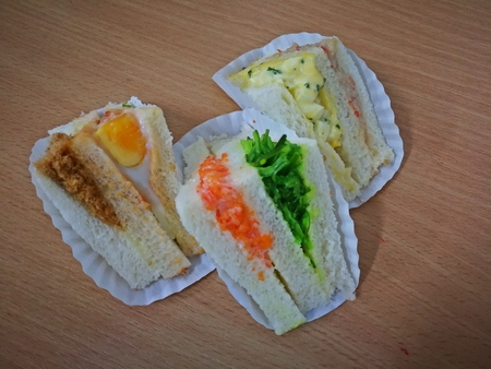 mixed delicious Sandwich bread for coffee breaks