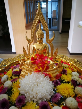 procedure of Buddhist praying from Buddha statue at Thailand happy new year festival in summer