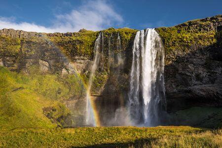 icelandic: Beautiful icelandic landscape autumn waterfall with river Stock Photo
