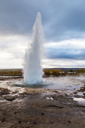hot water geothermal: Geothermal geyser. Icelandic pool with a hot water. Stock Photo