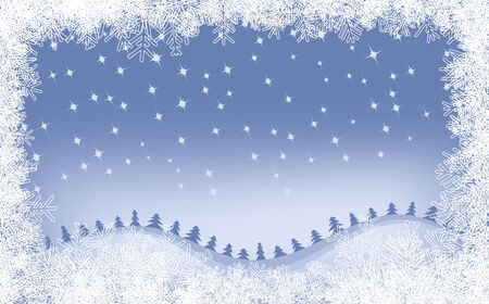 Fondo de invierno con copos de nieve diferentes y �rboles de Navidad