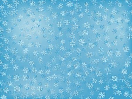 Fondo de invierno con copos de nieve diferentes (en colores de luz-Blue) Foto de archivo