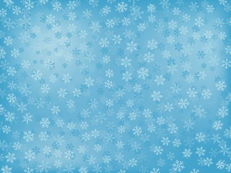Winter Background With Different Snowflakes (In Light-Blue Colours)