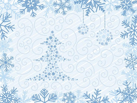 �rbol de Navidad azul con dos bolas en el marco de copo de nieve