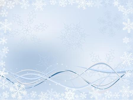 Fondo de invierno con diferentes de copos de nieve Y Wavy Ribbons